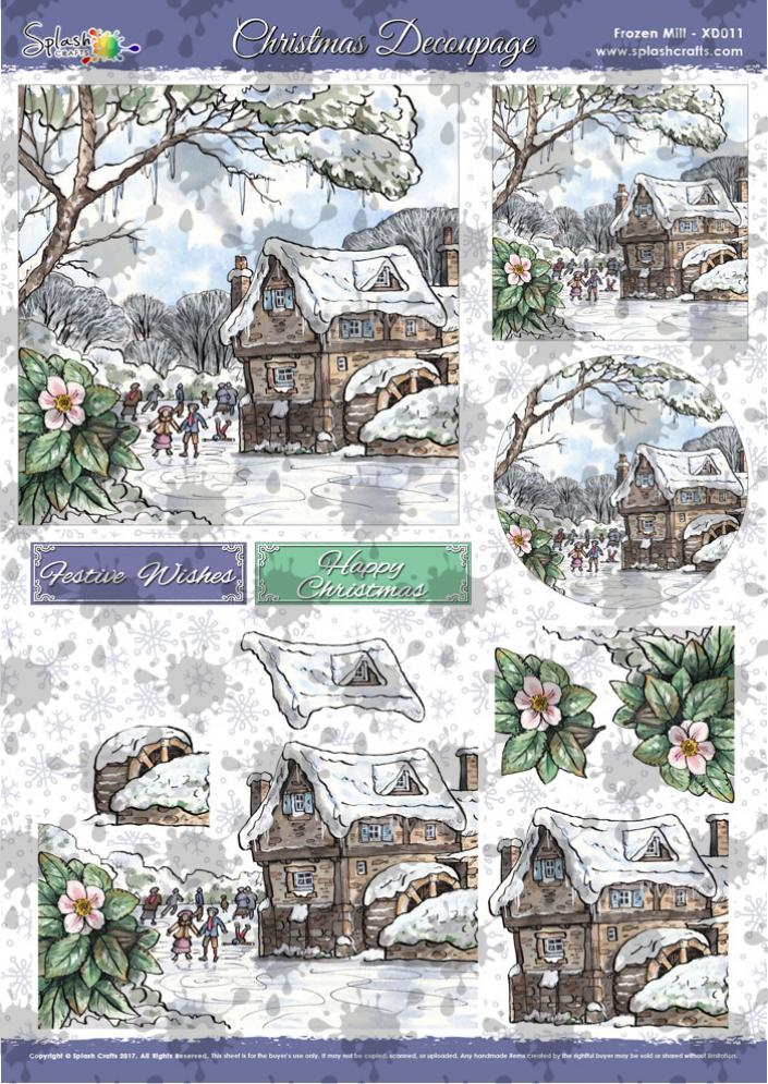 A4 Christmas Decoupage - Frozen Mill
